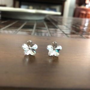 Dainty flower shaped CZ earrings.